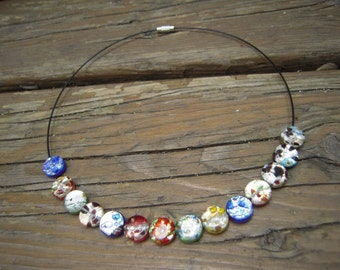 Glass necklace colourful
