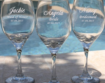 7 Personalized Bridesmaid Gifts, Wine Glasses, Custom Engraved Wedding Favors, Wine Glass, Gift for Bridesmaids
