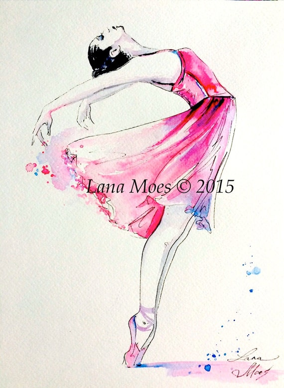 Ballerina Pink Illustration Print from Original Watercolor Painting - Ballet Dancers - Pink Ballerina - Girls Room