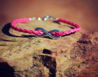 hot pink infinity bracelet - breast cancer awareness