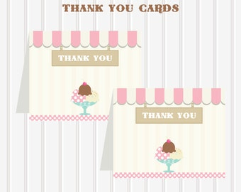 Instant Download Ice Cream Shoppe/Vintage/Old Fashioned Printable THANK YOU CARDS by Marbella Printables