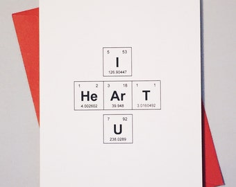"I Heart U Periodic Table of the Elements ""I HeArT U"" Geek Love Card / Sentimental Elements / Chemistry Card for Adorkables"