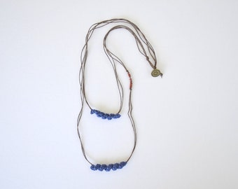 Layered necklace, layered and long necklace, minimal necklace, multi strand necklace, eco friendly jewerly, blue necklace, boho tribal