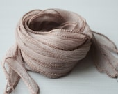 Taupe Silk Ribbon  - hand dyed - nude beige - for necklace bracelet