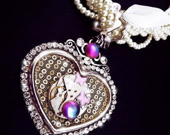 Steampunk necklace, steampunk heart necklace, steampunk jewelry, watch gear necklace, crystal necklace, watch movement necklace, OOAK