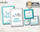 Elephant Baby Shower Table Signs, Babies Are Sweet Sign, Elephant Favor Tags, Teal Elephant Shower, INSTANT DOWNLOAD, #E1