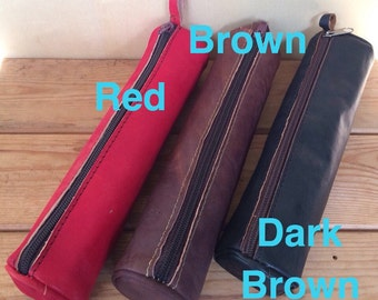 Leather pouch, 9 x 2 inches, Leather pencil case, leather purse, leather wallet, leather pen pouch, pen case, pen holder case, make up bag