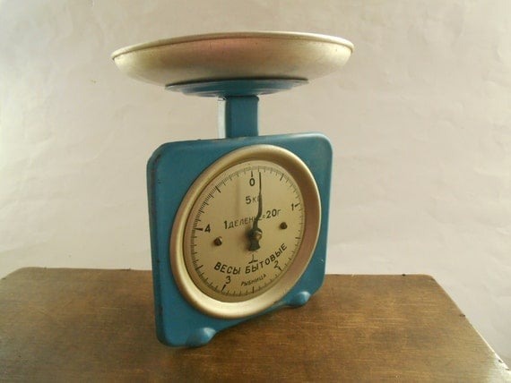 Soviet vintage scale blue kitchen scale ussr era 1970s rustic for Rustic kitchen scale