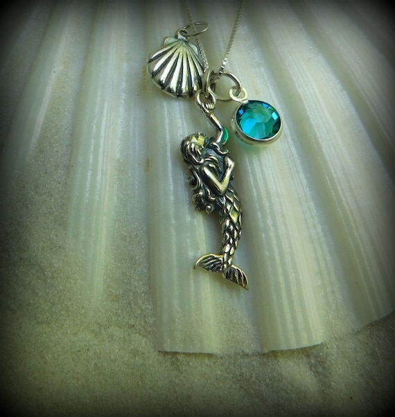 Sterling silver,mermaid necklace, swimmers jewelry, birthstone jewelry, vacation jewelry, surfers necklace