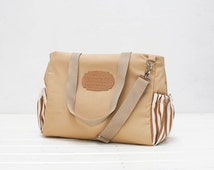 Unisex Brown Canvas Diaper Tote Bag, Waterproof