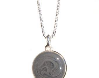 Double-Sided Cremation Pendant, 10mm - Sterling Silver Pet Cremation Jewelry