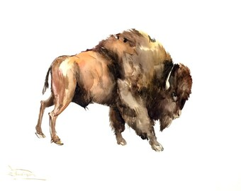 Bizon Painting, large watercolor painting, 24 X 18 in, brown animal art, bull art, bull painting, bison lover art, animal painting