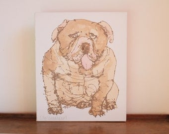 BULL DOG PAINTING, Original Dog Canvas Art, Hand painted Acrylic, Handmade Screenprint Hand-pulled Chocolate Brown ink, Quirky Dog Drawing