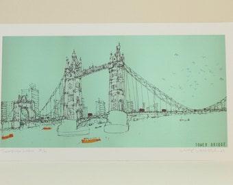 LONDON BRIDGE ART, Tower Bridge Print, Signed Limited Edition Giclee, Boats River Thames, London Bus, Graphic Bold Colour Clare Caulfield