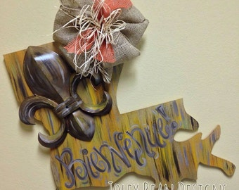 Louisiana, Unfinished Wooden Shape, Paintable Wooden Craft