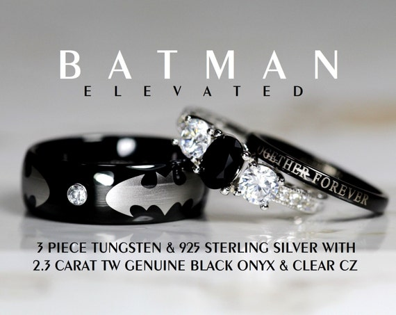 batman 3 piece tungsten 925 sterling silver by With batman 3 piece wedding ring set