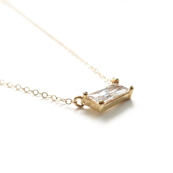Tiny Necklace, Simple Gold Necklace, Emerald Cut Diamond Necklace, Dainty Gold Necklace, Everyday Necklace, Bezel Setting, Bridesmaid Gift