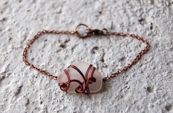 Bijoux Fait à La Main Montreal : Bracelet en verre de plage poli par la mer fil