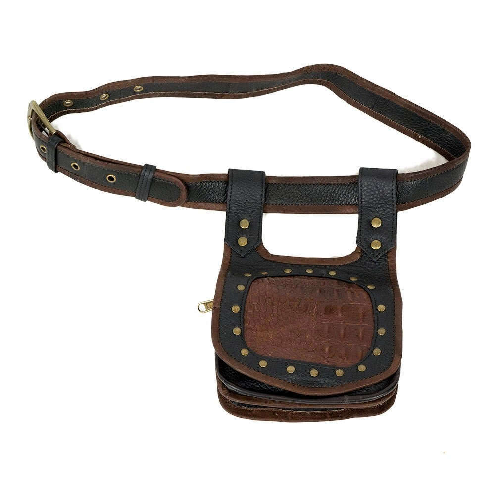 tribal leather utility belt with brown crocodile by