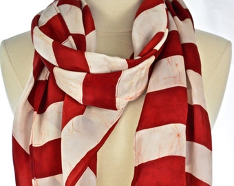 Red stripped scarf.BAtik silk scarf.hand made silk stripped scarf.long neck scarf.
