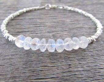Moonstone Gemstone Bracelet, Moonstone Bracelet, Hill Tribe Silver Bracelet, Chakra Bracelet, Bead Bracelet, Gem Bracelet, June Birthstone