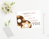Printable thank you cards Printable note cards Funny thank you card Donut thank you card Folding 4 Bar size