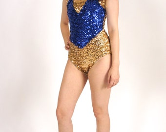 1960's Shiny Gold and Blue Vintage Handmade Sequin Leotard Onesie Size Small