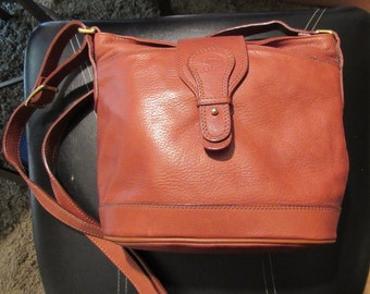 70s Cognac Brown Shoulder Handbag Giudi Italian Leather Purse