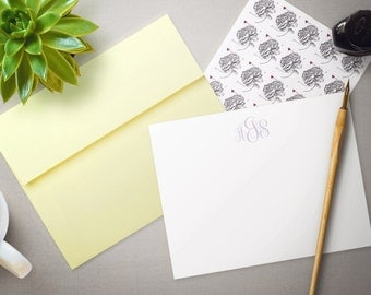 Personalized Stationery  - Monogrammed Flat Notecard Gift Set - Your Choice of Ink & Envelope Color - Personalized Stationary