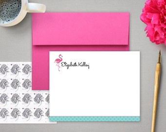 Personalized Stationery - Flat Notes with Pink Flamingo and Retro Script - Mid Century - Personalized Stationary