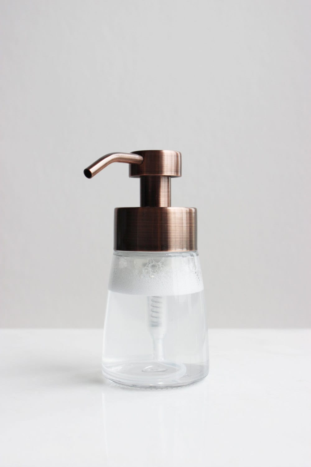 Small Glass Foaming Soap Dispenser With Copper Metal Pump