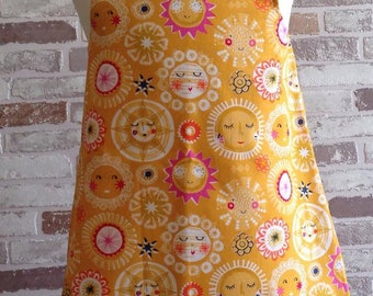 Sunshine Sun yellow girls baby  pinafore dress custom made 0-5 years