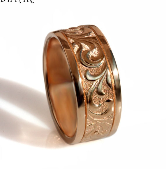 14k Rose Gold Scrolls Band Art Deco Wedding Band Womens