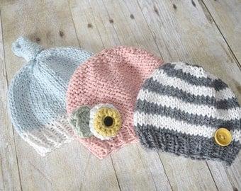 baby hat, newborn hat, knit hat, custom baby hat, knit flower hat, crochet baby hat, knitted baby, baby beanie, photo prop, striped hat