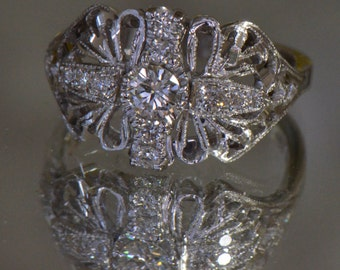 Handmade Art Deco-Inspired Diamond Ring (18K White Gold)