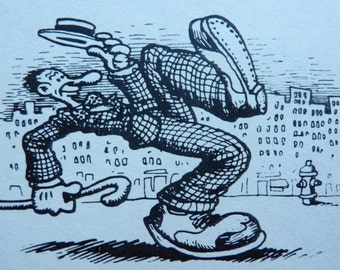 Robert CRUMB Signed, Illustrated Book Card from The Complete Crumb, Volume Four, R. Crumb