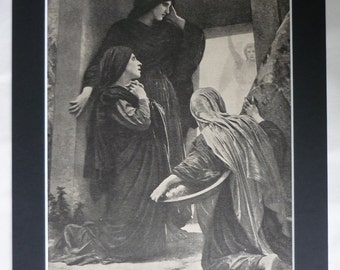 1906 Antique Print by William Adolphe Bouguereau, Available Framed, Catholic Art, Christian Gift, Holy Women at the Tomb, Old Easter Decor