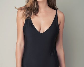 Black one piece swimsuit-open back swimsuit-womens swimwear