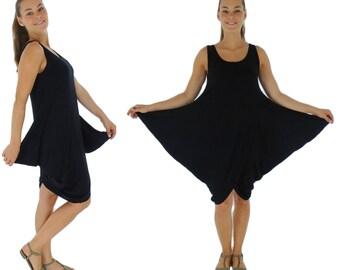 HO800SW ladies dress asymmetrsich balloon form layered look Gr. 34-38 black