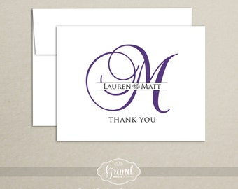 Personalized Note Card Set - Monogram Thank You Cards (Set of 10) - Wedding Thank You Cards