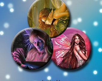 FANTASY FAIRIES - Digital Collage Sheet 1.313  inch round images for buttons, pendants, round bezels, etc. Instant Download #167.