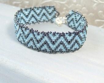 Light Blue Bracelet Glass Bracelet Seed Bead Jewelry Sterling Silver, Zig Zag 7 inch Bracelet Woven Unique Bracelet Handmade Gifts for Women
