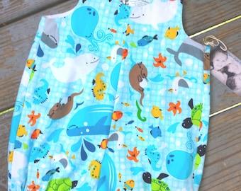 Ocean, fish, Sea Creatures, Boys blue romper, Baby shortall, Boys clothing, boys jon jon, beach sunsuit, baby boys outfit// MYSWEETCHICKAPEA