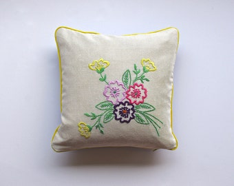 SALE - Summer Posie Cushion Cover, Hand Embroidered Vintage Tablecloth, 14 Inch Square, Ready To Ship
