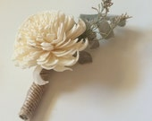 Rustic Dried Boutonniere with Sola Carnation and Dusty Miller
