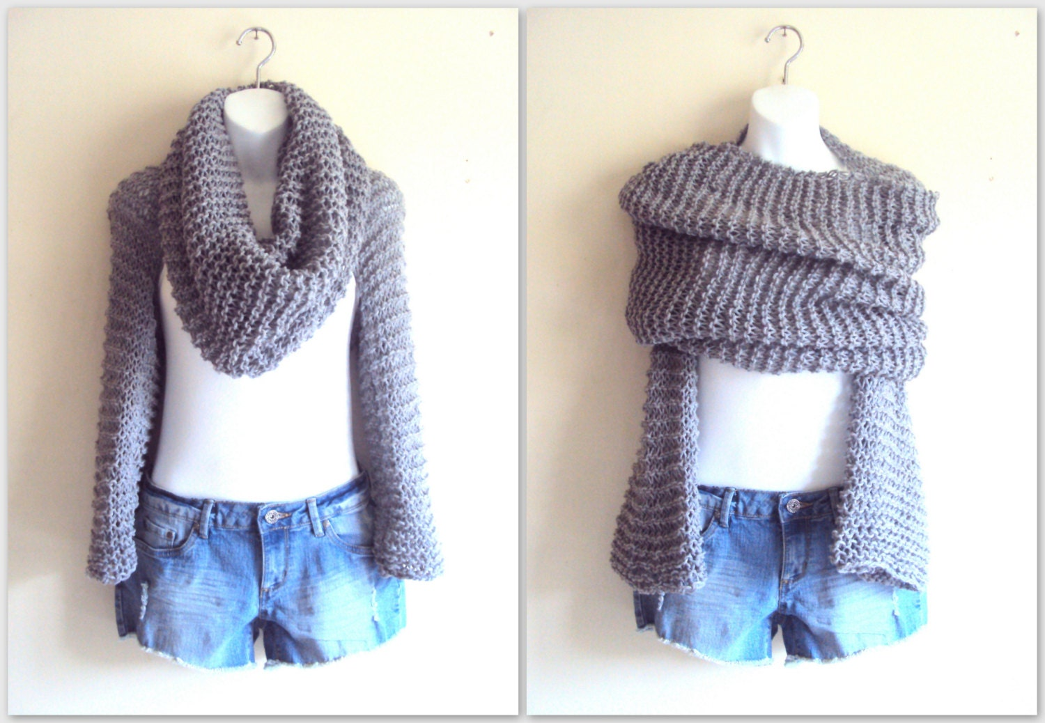 Loose Knit Scarf Pattern Free : Wrap Around Set Loose Knit Shrug Cowl Tube Scarf by GrahamsBazaar