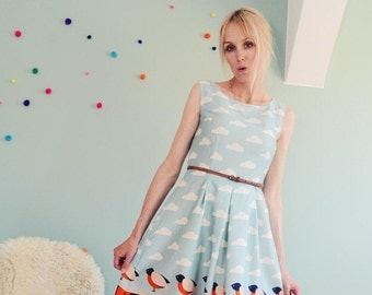 """BIRDY MINT"" Daisy dress in creme mintblau"