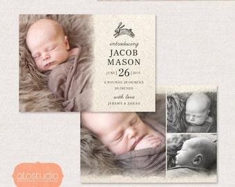 Birth Announcement Template - Pencil Rabbit CB054 5x7 card - INSTANT DOWNLOAD