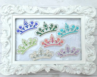 Tiara Rhinestone Flat Back Crown Hair Accessories Supplies Wedding Invitation Supplies - 9 Colors Available - 2.5 Inches - Hair Bow Supplies