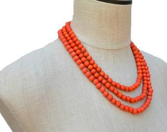 orange necklace / orange beaded necklace / orange statement necklace / orange bridesmaid necklaces / summer necklace / 3 strand necklace